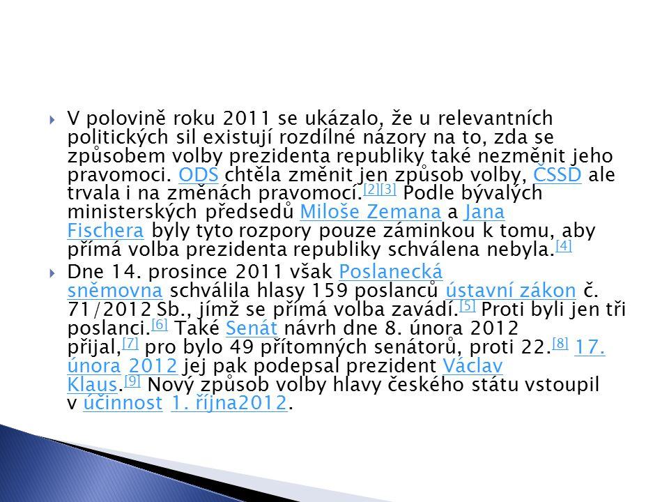 V polovině roku 2011 se ukázalo, že u relevantních politických sil existují rozdílné názory na to, zda se způsobem volby prezidenta republiky také nezměnit jeho pravomoci. ODS chtěla změnit jen způsob volby, ČSSD ale trvala i na změnách pravomocí.[2][3] Podle bývalých ministerských předsedů Miloše Zemana a Jana Fischera byly tyto rozpory pouze záminkou k tomu, aby přímá volba prezidenta republiky schválena nebyla.[4]